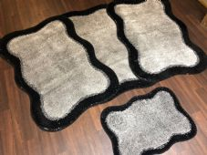 ROMANY WASHABLES TRAVELLER MATS NON SLIP SETS OF 4  NEW  BLACK/SILVER 80X120CM